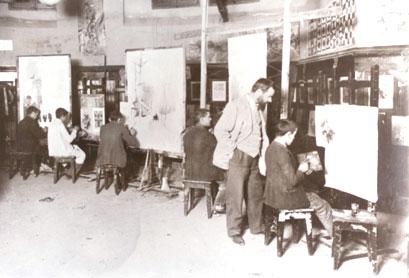 Clase de dibujo a mediados de siglo XX